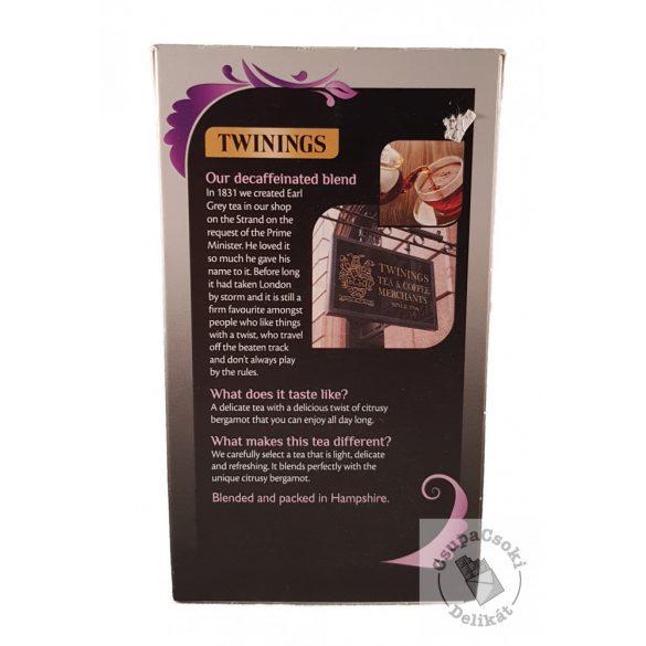 Twinings Earl Grey Koffeinmentes fekete tea 50 filter, 125g