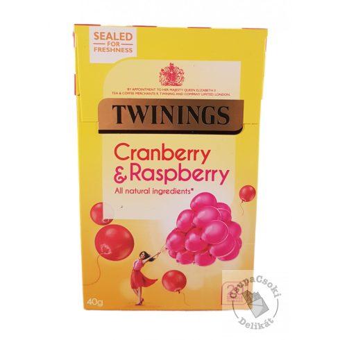 Twinings Cranberry&Raspberry Gyümölcstea vörösáfonyával és málnával 20 filter, 40g