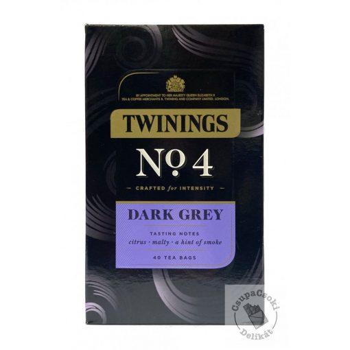 Twinings No4 Dark Grey Fekete Earl Grey tea 40 filter, 80g