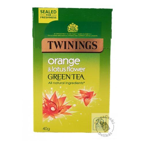 Twinings Orange&Lotus flower Zöld tea narancs és lótuszvirág ízesítéssel 20 filter, 40g