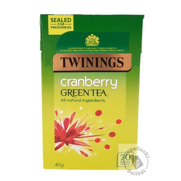 Twinings Cranberry Zöld tea vörösáfonya ízesítéssel 20 filter, 40g