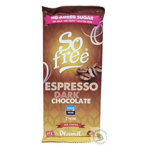 So Free Espresso Dark 72% Tejmentes, gluténmentes kávés étcsokoládé hozzáadott cukor nélkül 80g