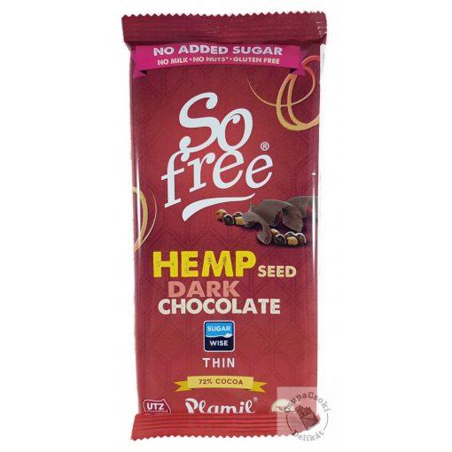 So Free Hemp Seed Dark 72% Tejmentes, gluténmentes étcsokoládé kendermaggal hozzáadott cukor nélkül 80g