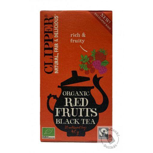 Clipper Red Fruits Bio gyümölcsös fekete tea, 20 filter, 40g
