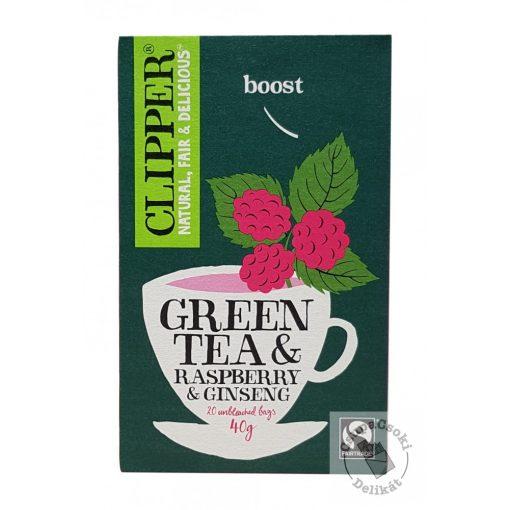 Clipper Green&Raspberry&Ginseng Zöld tea málnával és ginzenggel 20 filter 40g