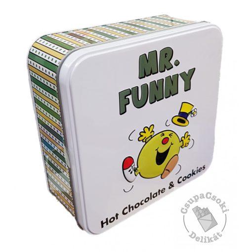 Mr. Funny Forró csokoládé por és csokidarabos keksz fémdobozban 220g