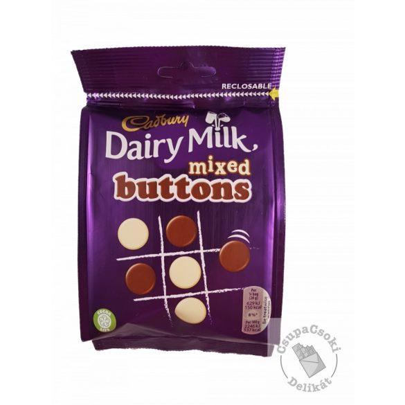 Cadbury Mixed Buttons Tej- és fehércsokoládé korongok 115g