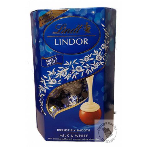 Lindt Lindor Milk&White Tejcsokoládé golyók tejkrémes töltelékkel 200g