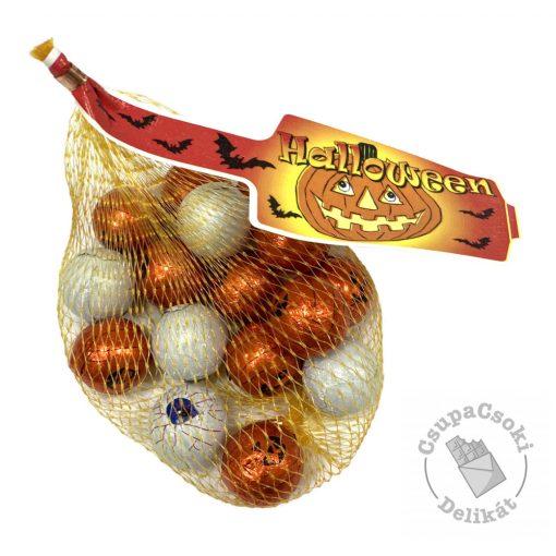 Halloween Tejcsokoládé szemgolyó és tökfigurák hálóban 90g