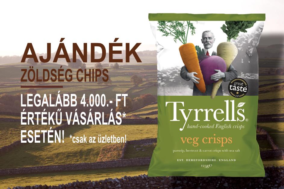 Ajándék Tyrrell's zöldség chips 4000.- Ft vásárlás felett